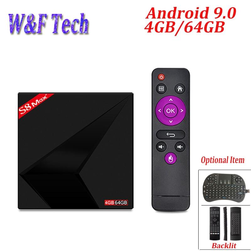 S8 MAX PLUS 4GB 64GB Android 9.0 TV BOX Rockchip RK3328 Quad-Core 64bit 2.4G/5GHz Dual WiFi 4K Smart TV Box PK X88 MAX PLUS