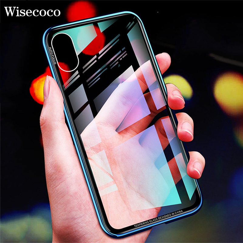 Metal Bumper Case For Iphone X 10 6 6s Luxury Plating Frame Hard Clear Tempered Glass Mirror Thin Back Cover For Iphone 7 8 plus iPhone XS