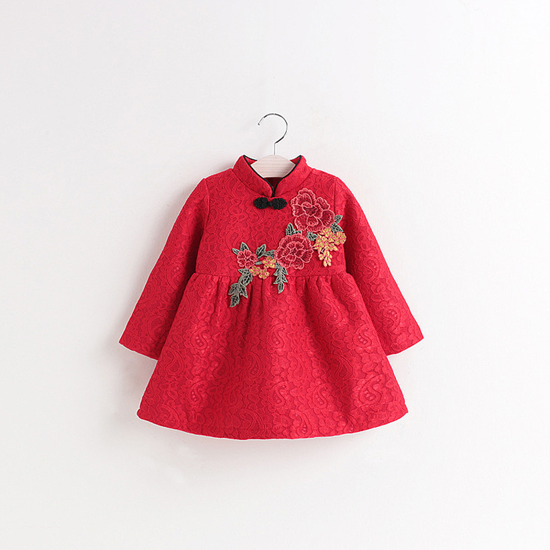 2017 Kids Winter Brushed Dresses For Girls Chinese Cheongsam Baby Elegant Clothes Traditional Chinese Garments For Child