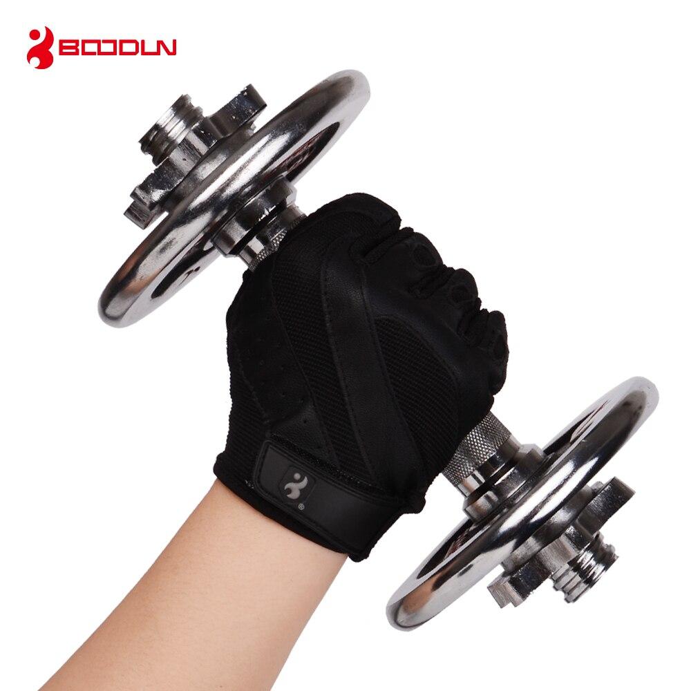 Купить с кэшбэком Boodun Genuine Leather Gym Weight Lifting Gloves Men Body Building Training Sports Fitness Exercise Pig Black Gloves Male