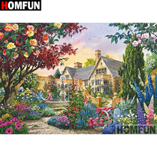 HOMFUN 5D Diamond Pattern Rhinestone Needlework Diy Painting Cross Stitch Garden scenery Embroidery A08290