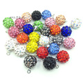 100pcs/lot 10mm Shamballa Bead Pendant Clay Pave Rhinestone Crystal Shamballa Bead Charm for DIY Earring Necklace Free shipping