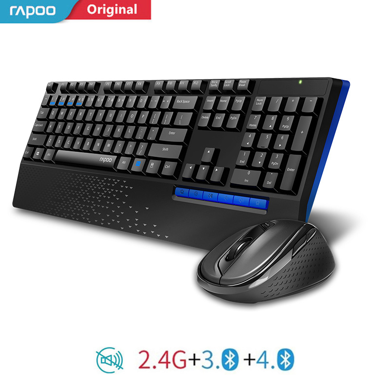 New Rapoo 8300T Multi-mode Silent Wireless Keyboard Mouse Combos Bluetooth 3.0/4.0 RF 2.4G Switch Between 3 Devices Connection