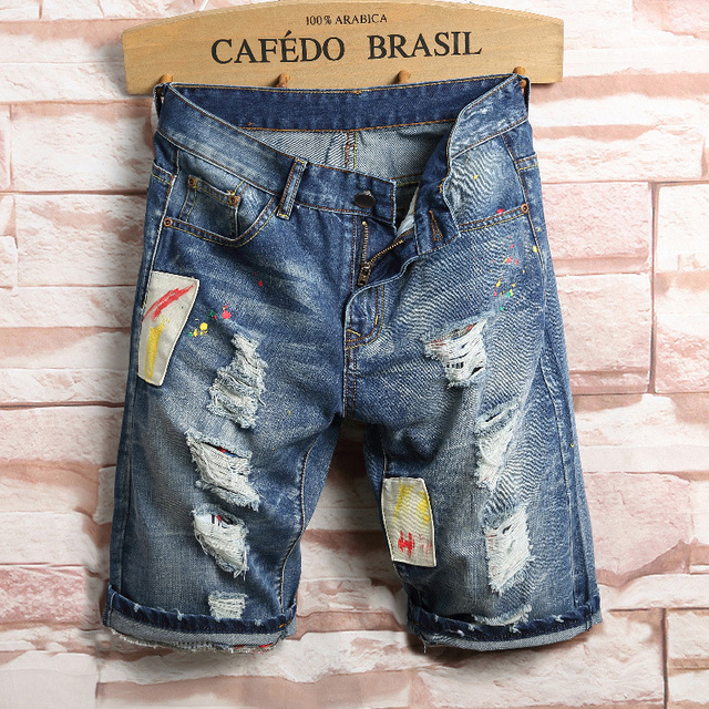 e2ef00caee US $17.48 47% OFF|Men's Summer New Fashion Denim Shorts Korean Style Broken  Hole Middle waisted Patch Shorts-in Jeans from Men's Clothing on ...