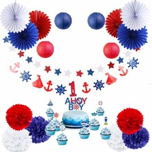 19pieces/set Navy Theme Party decoration I am One Years old Baby Shower Boy Decorations Set Pompoms Banner Lantern Decor