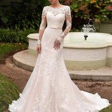 Loverxu Long Sleeve Mermaid Wedding Dresses Court Train