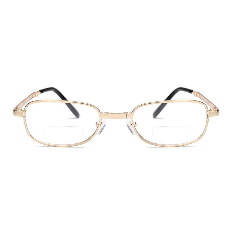 Gafas de lectura bifocales Unisex, gafas dioptrías plegables portátiles para hombres, gafas para presbicia de Metal para mujeres, 1,0, 1,5, 2,0, 2,5, 3,0 y 3,5