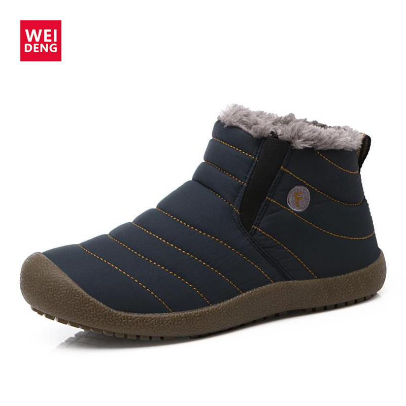 Weideng Winter Boots Lace-On High-Quality Warm Man Flat Causal Anti-Skidding Big-Size