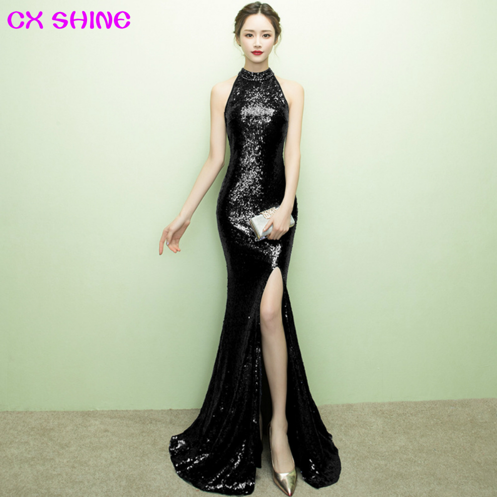Long   evening     dress   CX SHINE gold Bling wine sequin beading mermaid trumpet prom party   dresses   sexy split robe de soiree Vestido