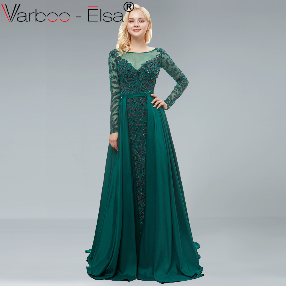 VARBOO ELSA Dark green Beading Luxury Evening Dress A-Line Long Sleeve With Train  Evening Dress 2018 long prom dress Real Photo 1e21a3bc3ad1
