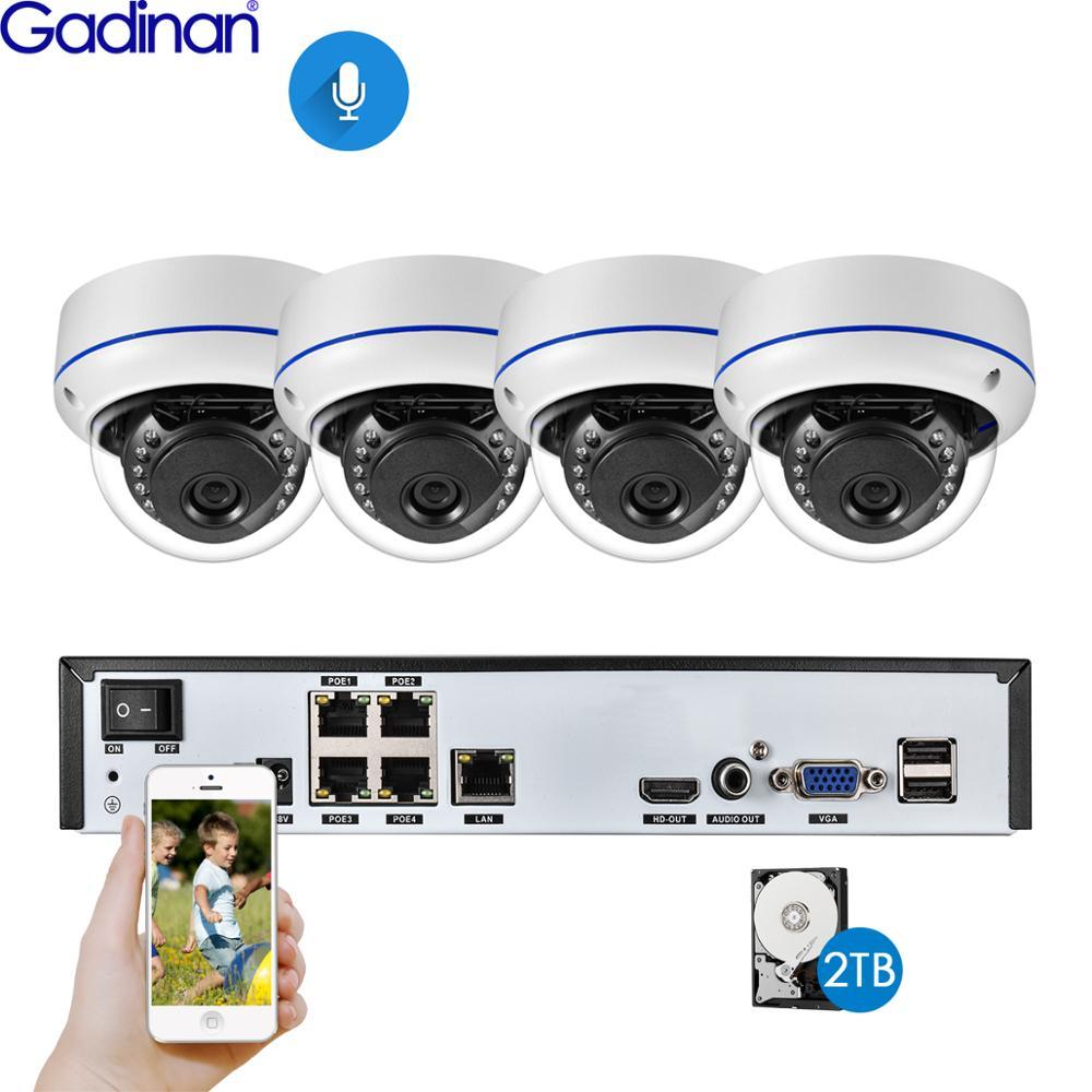 Gadinan 4CH 5MP 5MP 4MP 2MP POE NVR Kit Sistema de Câmera de Segurança Ao Ar Livre IR CCTV Dome Áudio POE Câmera IP conjunto de Vigilância Por vídeo