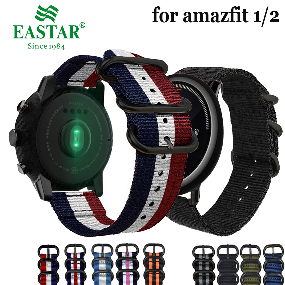 Eastar Nylon Woven Watch Band Colorful Replacement With Buckle Strap for Amazfit Bip for Xiaomi Huami Amazfit Pace Bracelet 22mm huami amazfit pace replacement strap black green