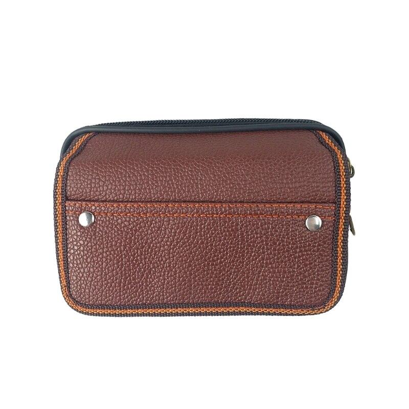 1XMen Leather Waist Fanny Pack Travel Outdoor Belt Bum Hip Pouch Chest Black Bag