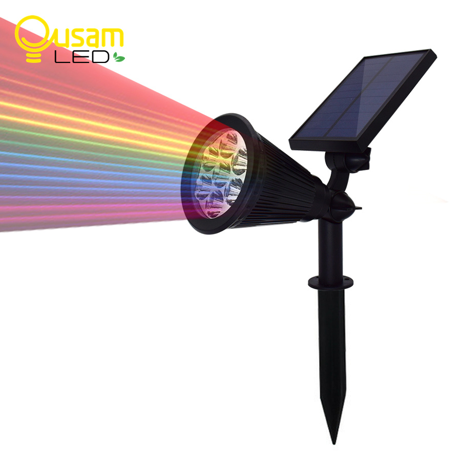 7 LED Solar Lamp Spotlight Auto Change 7 Color Waterproof Solar Powered Lawn Lamp Wall Light Outdoor Garden Decoration Lighting 2 in 1 solar powered led spotlight super bright outdoor lamp 8 led waterproof type adjustable auto on auto off security light