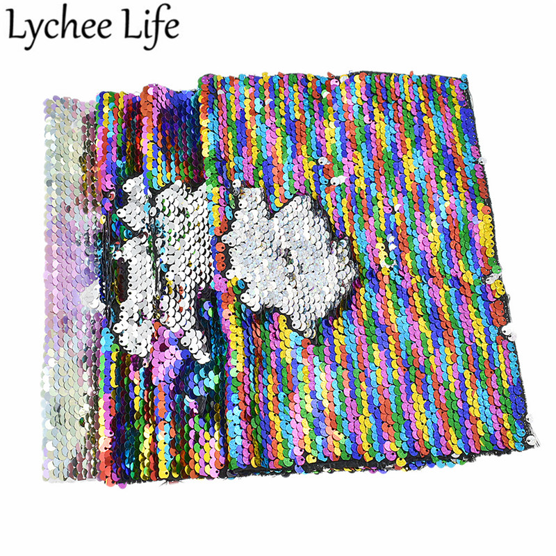 Lychee Life Rainbow Reversible Sequin Fabric A4 29x21cm Polyester Satin DIY Handmade Sewing Cloth Supplies Accessories