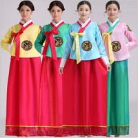 New Hot Luxury Korean Traditional Clothes Dress HANBOK WOMAN with silver hanbok pink/blue/yellow//green free shipping