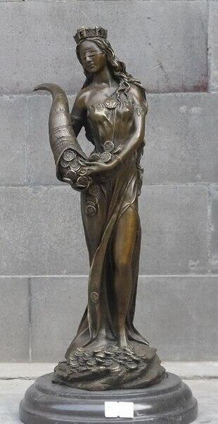 "007753 12.5""Western Bronze & Marble ART Statue God of wealth Plutus queen Money|god of wealth|god statue|bronze statue - title="