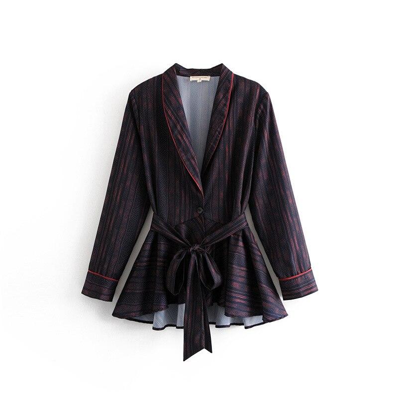 Women's suits autumn new women's retro loose lapel chiffon belt suit jacket wild fashion wide leg pants 2019