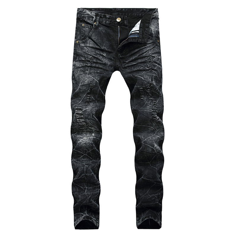 Mcikkny Ripped Jeans For Men Black High Street Casual Jeans Pleated Slim Fit Straight Motorcycle Vintage Pants Dropshipping