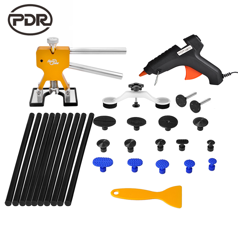 PDR Tools Kit Dent Removal Paintless Dent Repair Bridge Puller Slide Golden Lifter Glue Tabs Suction Cup Fungi Repair Tools  pdr tools for car kit dent lifter glue tabs suction cup hot melt glue sticks paintless dent repair tools hand tools set