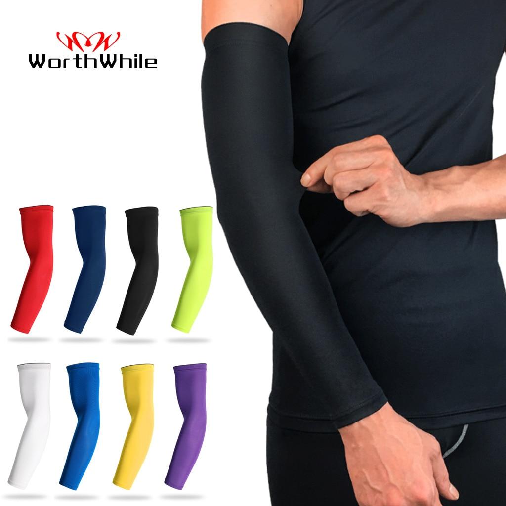 Vale a pena esportes braço de compressão manga basquete ciclismo braço mais quente verão correndo proteção uv voleibol protetor solar bandas