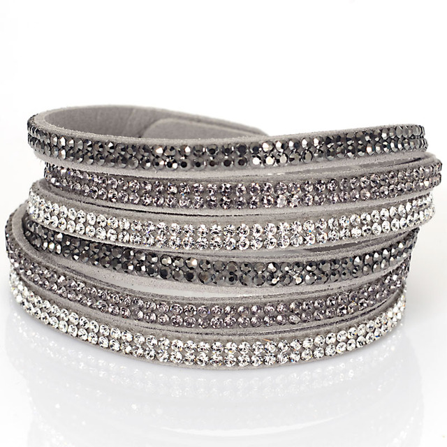 Double Wrap Velvet Leather 3 Rows Crystal Bracelet With Full Pave Wred Bracelets Bilingbling