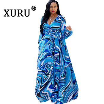XURU chiffon print dress beach large size dress S-5XL women's long sleeve V-neck casual loose dress 1