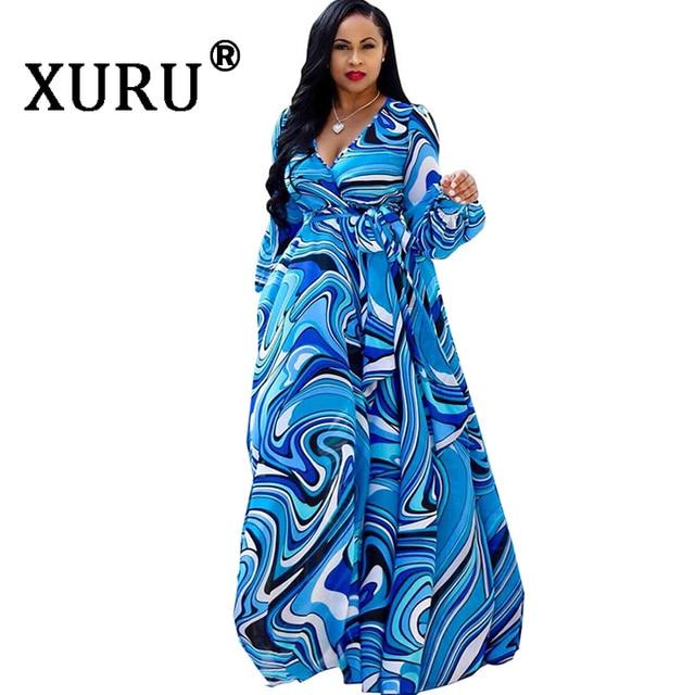 XURU chiffon print dress beach large size dress S-5XL women's long sleeve V-neck casual loose dress 1