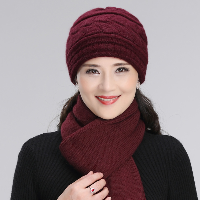 Middle-aged Elderly Hat Female Rabbit Fur Knitted Wool Cap Grandma Christmas Gift Mother Autumn Winter Soft Scarf Hats H7162