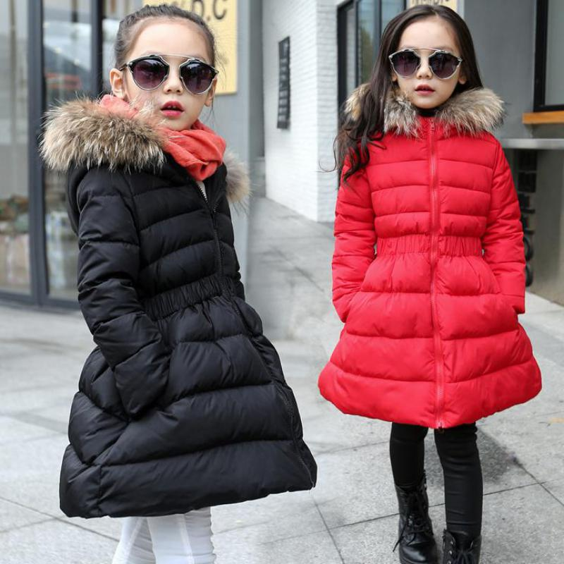 2017 Children Black Red Down Winter Warm Jacket With Fur Baby Girls Overcoat Hooded Winter Jacket Kid Clothing Coat Costume Sale children duck down jacket coat with imitation fur boy girl removable hooded overcoat winter warm thick outerwear kid clothes
