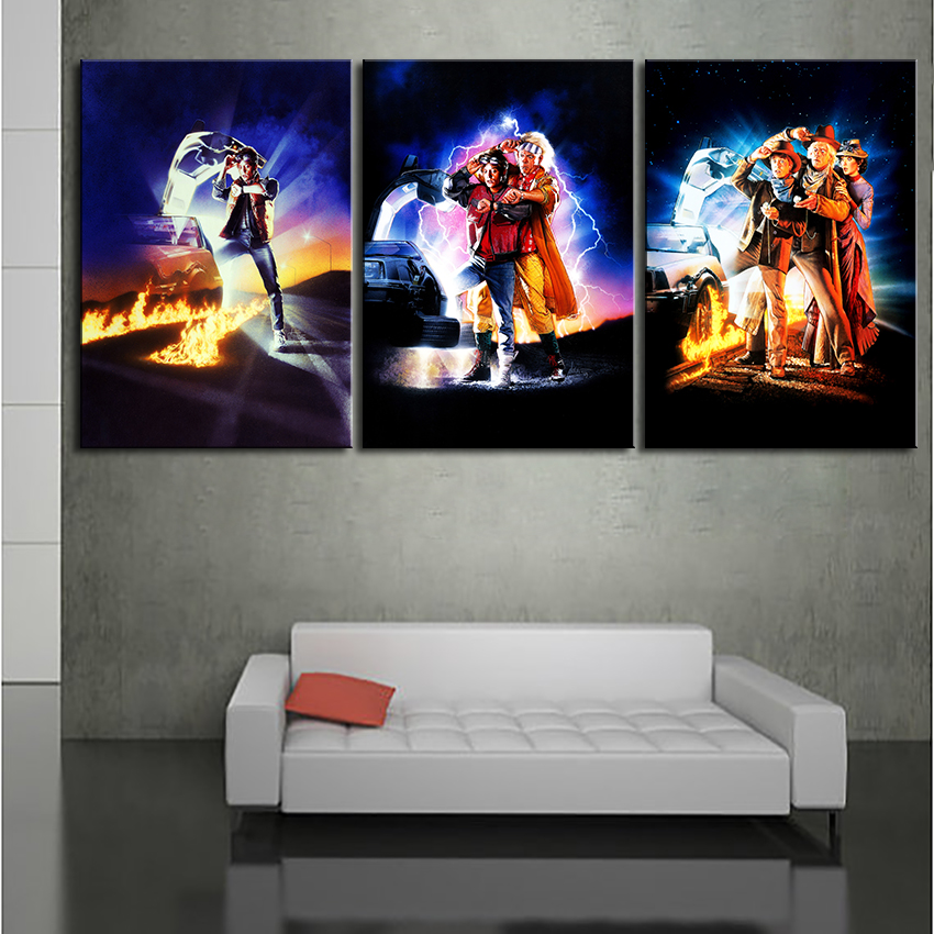 3PCS set Large Art Picture wall painting Back To The Future 1,2,3 Printed Painting Home Decoration Wall Pictures no framed arts