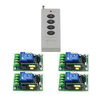 AC85V 250V 1CH RF Wireless Remote Control Switch System 1Receivers 3Transmitter M4 T4 L4 Learning Code