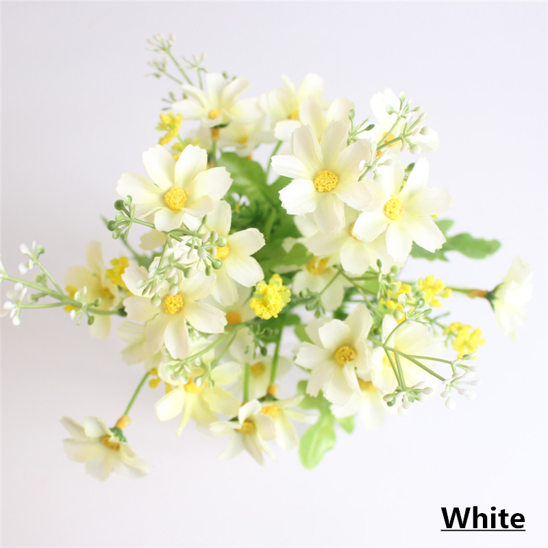 Cute Silk Daisy Artificial Flower With One Bouquet 7 Branch 28 Heads For Wedding Decoration 9