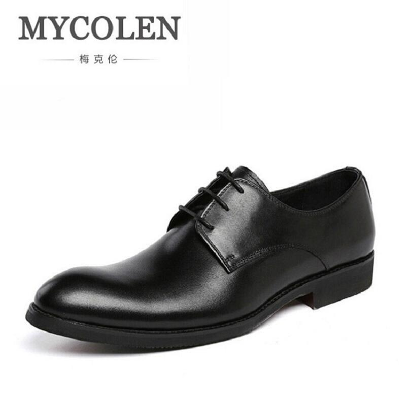 MYCOLEN Business Men Dress Shoes Genuine Leather Lace-Up Black/Brown  Oxfords Shoes Top Quality Elegant Flats For Male ayakkabi black sequins embellished open back lace up top