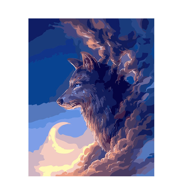 0329ZC849 Home Wall Furniture Decorations DIY Number Painting Children  Graffiti Moon Wolf Painting By Numbers