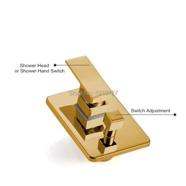 Online Shop Gold Brass Rainfall Shower Head Widespread Waterfall ...