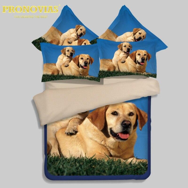 Textile à la maison, sortie 3D Réalistes chiens coton parure de lit de roi reine taille lit housse de couette drap de lit taie d'oreiller 4 pièces kit