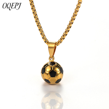 OQEPJ Trendy Sporty Football Necklace Pendant Stainless Steel Men Soccer Round Necklaces Gold Silver Color Jewelry Gift Hot Sale