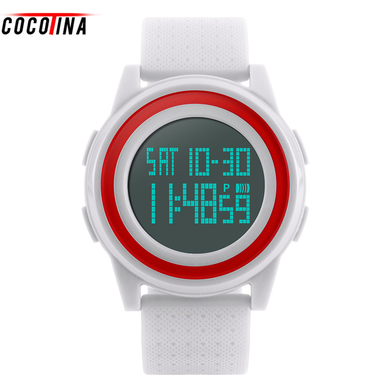COCOTINA Double Time Stopwatch Luminous Display The Date Timing Ring Alarm Display Week Sport Women Watch HL0472 cool men watch double time stopwatch luminous timing ring alarm 12 24 hour men wrist watch clock relogio masculino watch
