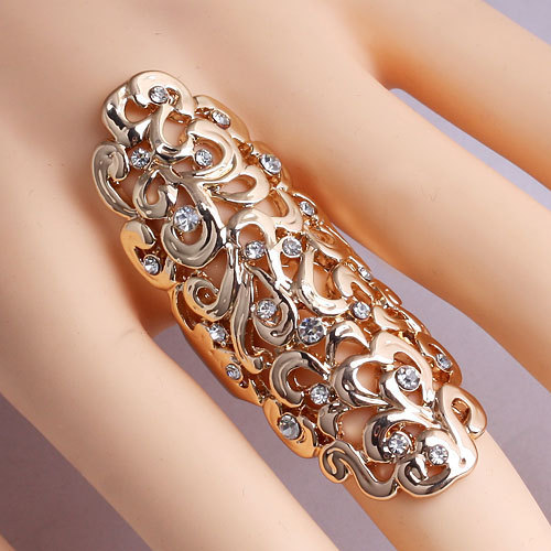 Ring for women Hollow Out Flower Exaggerate Big Crystal Rings Fashion hyperbole Ring Women fashion Jewelry