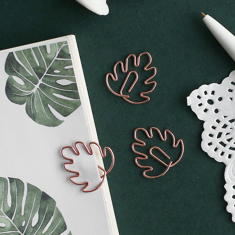 JIANWU 8pcs/set Plant Series Metal Modeling Bookmark Creative Sakura Combination Clip Kawaii Paper Clip School Supplies