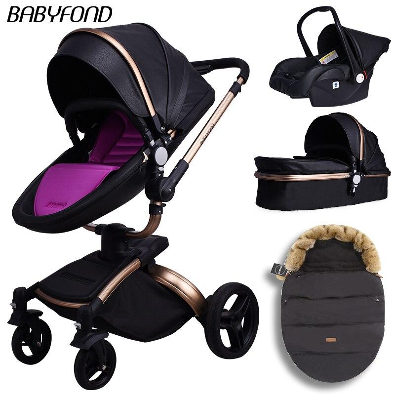 Babyfond haute qualité en cuir PU poussette 3-en-1 cadre en aluminium léger bébé chariot étanche