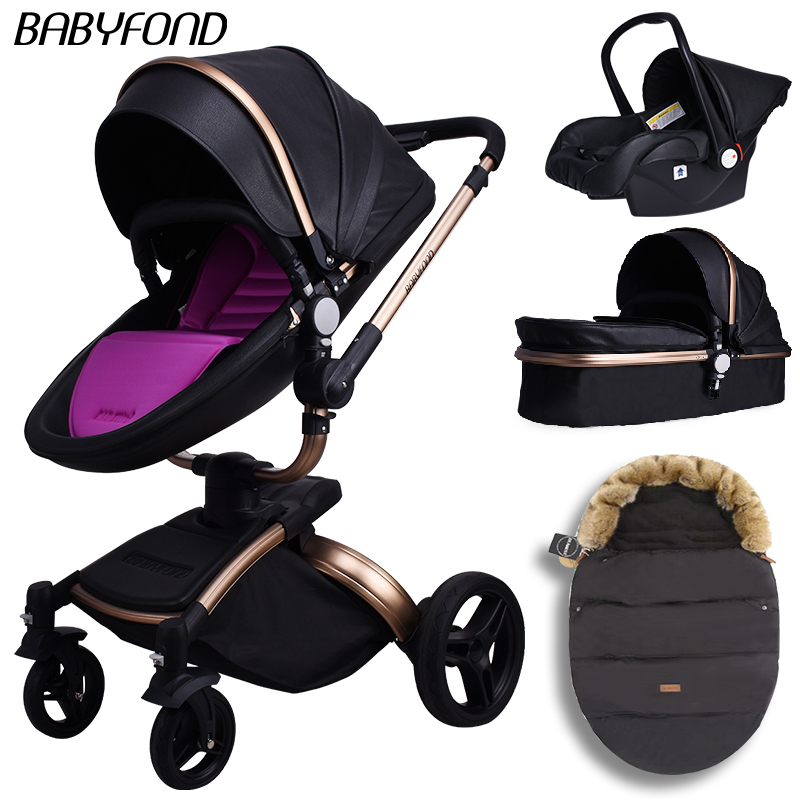Babyfond high quality PU leather stroller 3 in 1 aluminum frame lightweight baby waterproof cart|Four Wheels Stroller| |  - title=