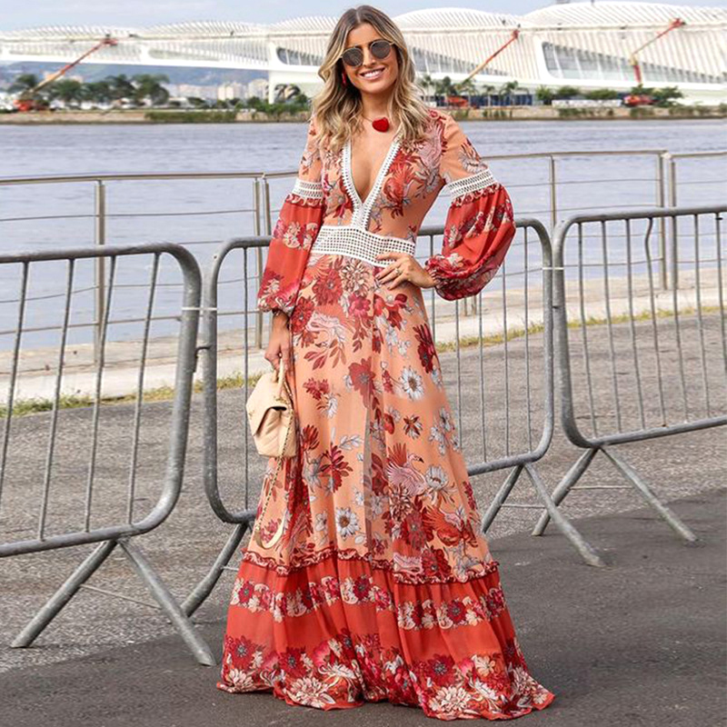 New Women Spring Summer Maxi Dresses Sexy Deep V Ethnic Style Red Floral Sweet Pink Beach Travel Plus Size Extra Long Dress