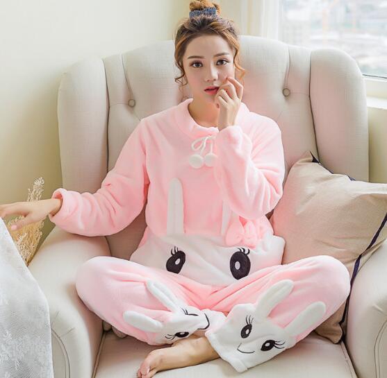 2018 Winter New Thickened Cute Sleeping Rabbit Coral Fleece Pajamas Soft Comfortable Furnishing Suit Velvet Home Wear Leisure