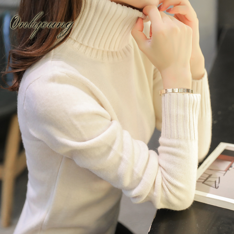 Onlyoung Pull Femme 2017 Autumn Winter Knitted Sweater Pullover Long Sleeve White Black  ...