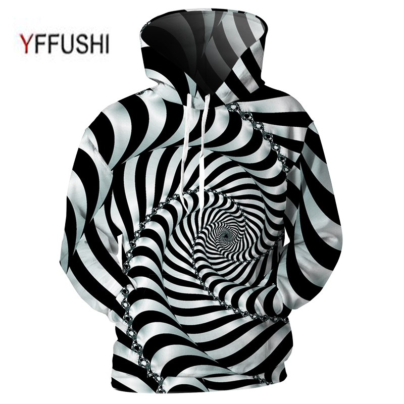 YFFUSHI 2018 Male 3d Striped Hoodies Unique Rotating Swirl Line Print Top Cool Design Hip Hop Hooded Sweatshirts Plus Size 5XL