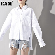 [EAM] 2019 New Autumn Winter Lapel Long Sleeve  White Irregular Hem Loose Temperament Shirt Women Blouse Fashion Tide JU8470 white stripe shirt with irregular hem