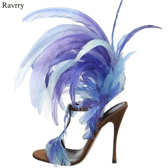 Ravryy New Designer Feather High Heels Sandals Women Open Toe T-Strap Ankle Buckle Sandals Summer Ladies High Heels Dress Shoes summer new fashion blue purple feather straps women open toe sandals sexy t strap ankle buckle ladies high heels size42