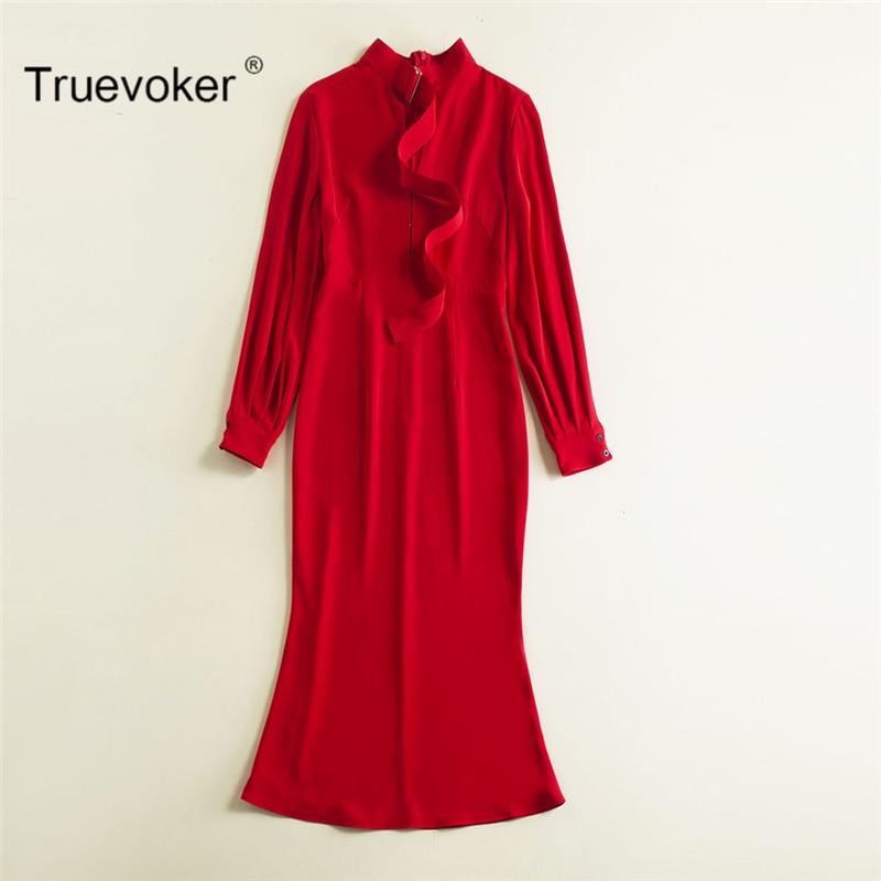 Truevoker Designer Spring Dress Ladies' Puff Sleeves Solid Red White Black 3 Colors Brief Formal Mermaid Vestido